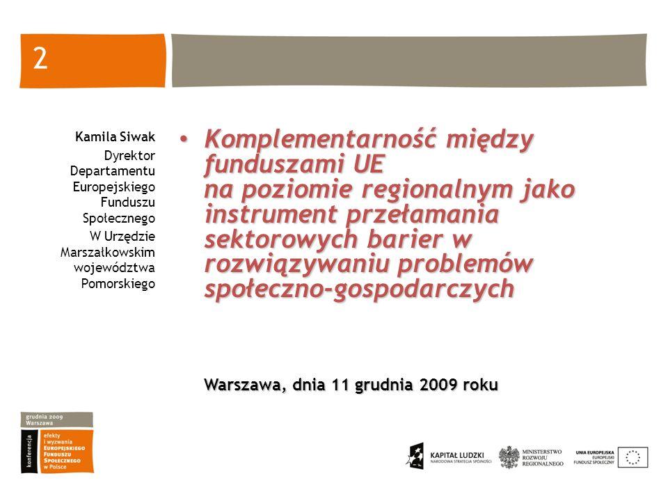Kamila Siwak Dyrektor Departamentu Europejskiego Funduszu Społecznego. W Urzędzie Marszałkowskim województwa Pomorskiego.