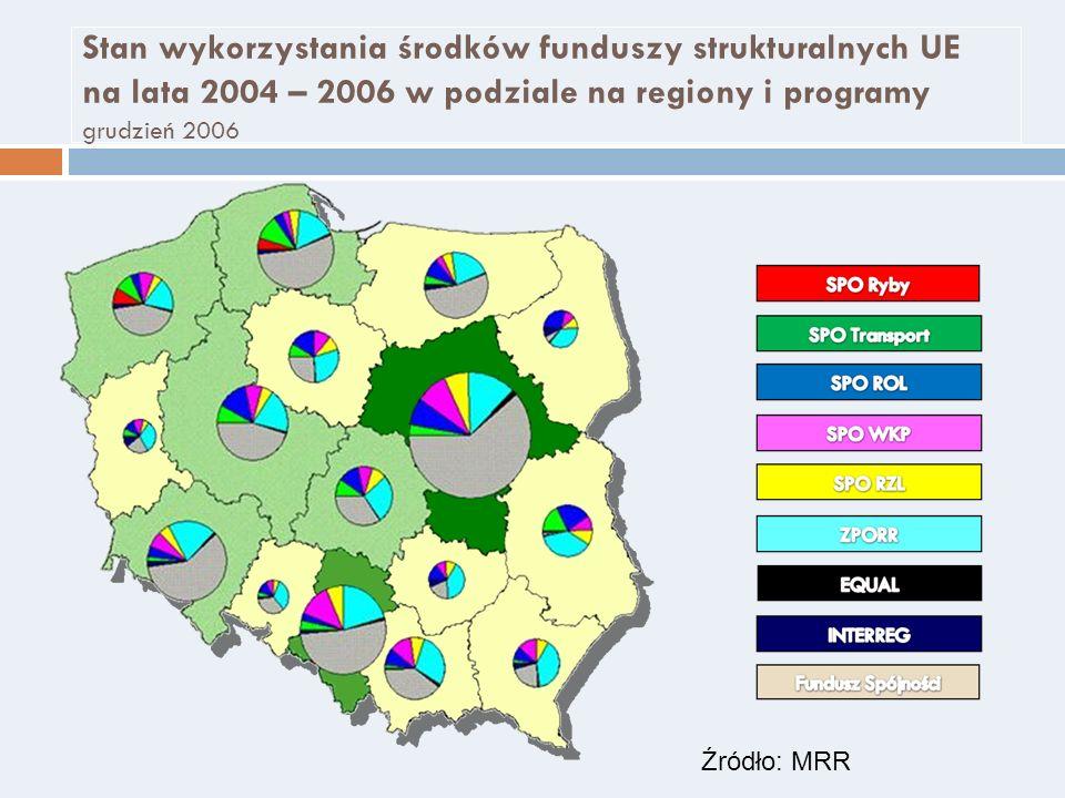 Stan wykorzystania środków funduszy strukturalnych UE na lata 2004 – 2006 w podziale na regiony i programy grudzień 2006