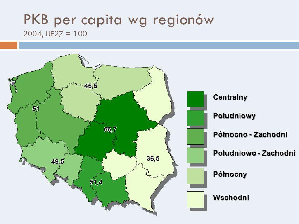 PKB per capita wg regionów 2004, UE27 = 100