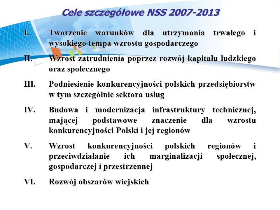 Cele szczegółowe NSS 2007-2013 Tworzenie warunków dla utrzymania trwałego i wysokiego tempa wzrostu gospodarczego.