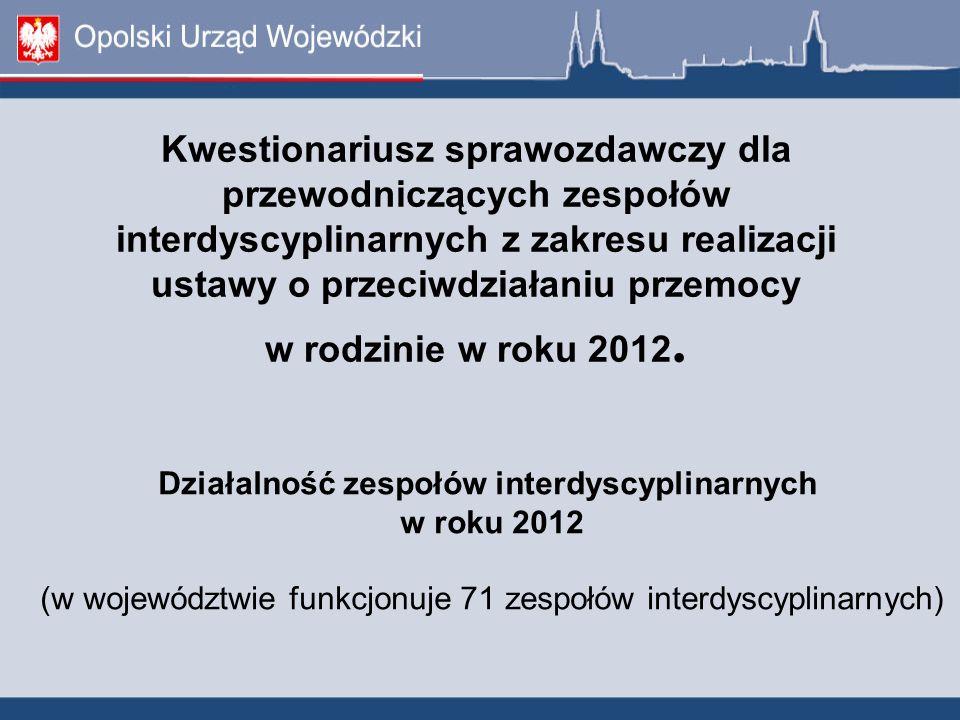 Działalność zespołów interdyscyplinarnych w roku 2012