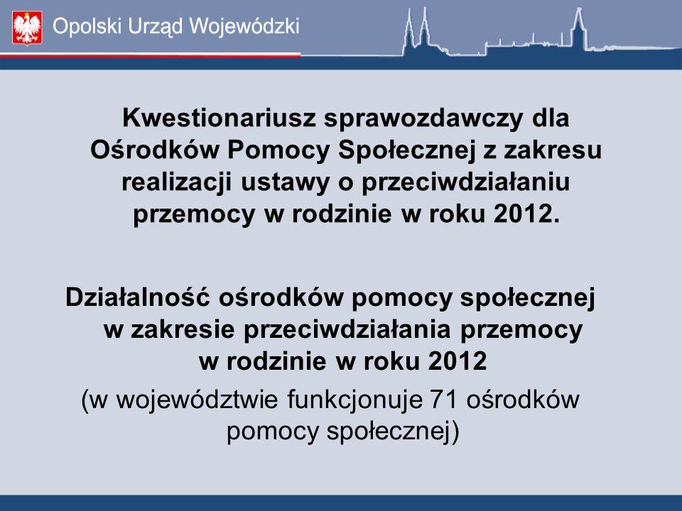 (w województwie funkcjonuje 71 ośrodków pomocy społecznej)