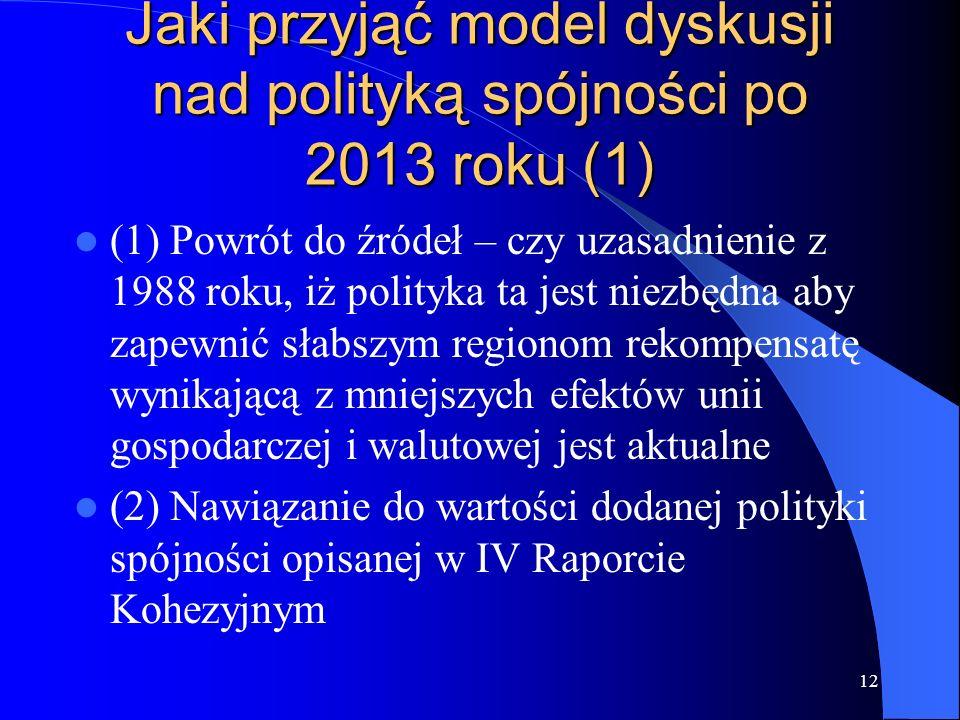 Jaki przyjąć model dyskusji nad polityką spójności po 2013 roku (1)