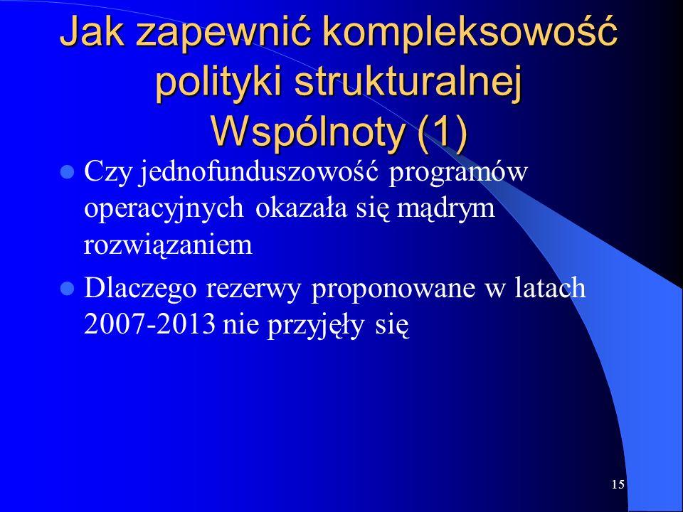 Jak zapewnić kompleksowość polityki strukturalnej Wspólnoty (1)