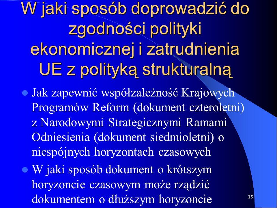 W jaki sposób doprowadzić do zgodności polityki ekonomicznej i zatrudnienia UE z polityką strukturalną