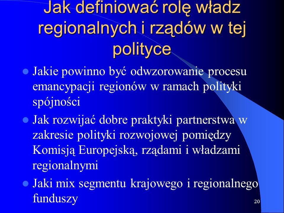 Jak definiować rolę władz regionalnych i rządów w tej polityce
