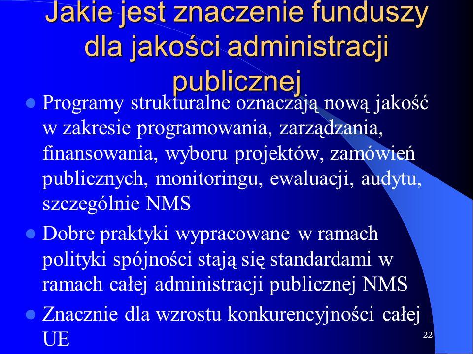 Jakie jest znaczenie funduszy dla jakości administracji publicznej