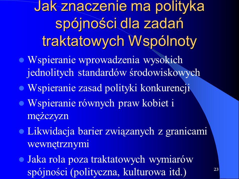 Jak znaczenie ma polityka spójności dla zadań traktatowych Wspólnoty
