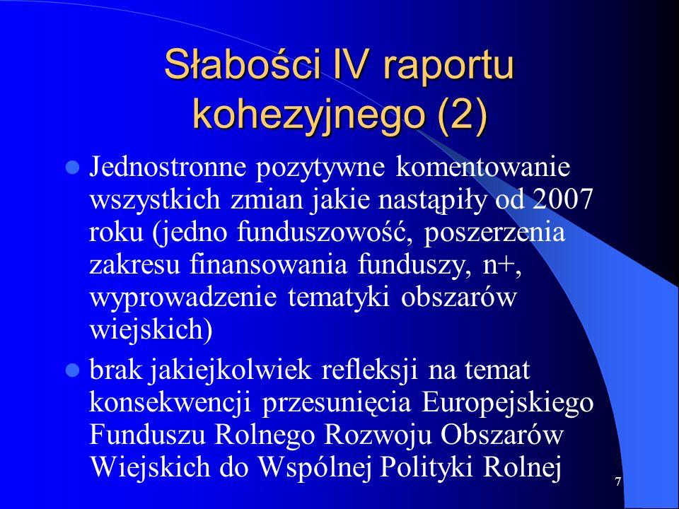 Słabości IV raportu kohezyjnego (2)