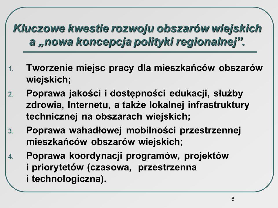 """Kluczowe kwestie rozwoju obszarów wiejskich a """"nowa koncepcja polityki regionalnej ."""