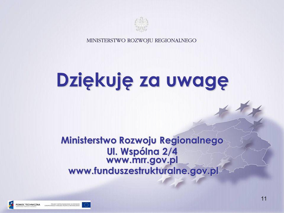 Dziękuję za uwagę Ministerstwo Rozwoju Regionalnego Ul. Wspólna 2/4