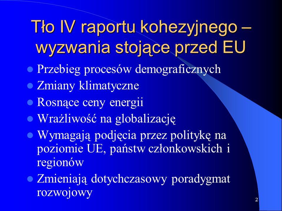 Tło IV raportu kohezyjnego – wyzwania stojące przed EU