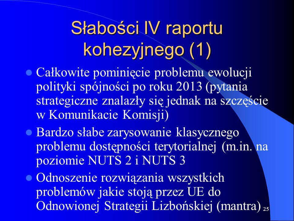 Słabości IV raportu kohezyjnego (1)