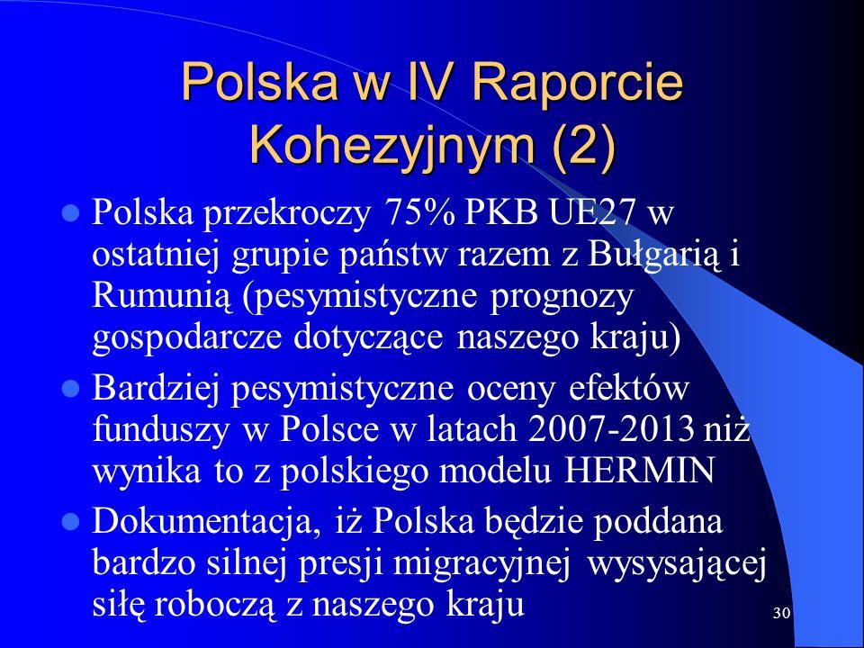 Polska w IV Raporcie Kohezyjnym (2)