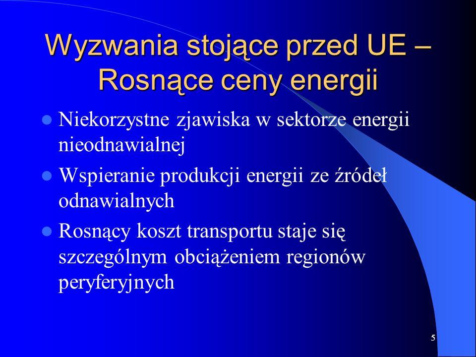 Wyzwania stojące przed UE –Rosnące ceny energii