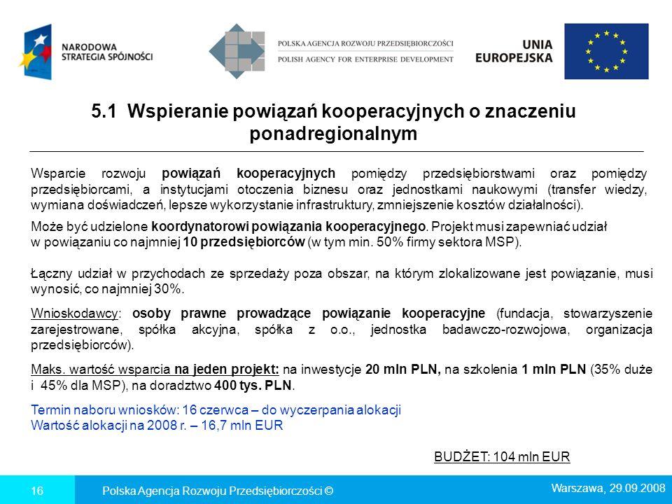 5.1 Wspieranie powiązań kooperacyjnych o znaczeniu ponadregionalnym