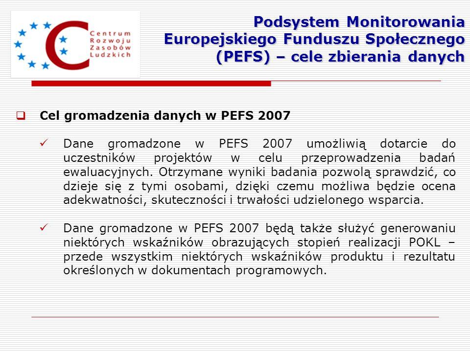 Podsystem Monitorowania Europejskiego Funduszu Społecznego (PEFS) – cele zbierania danych