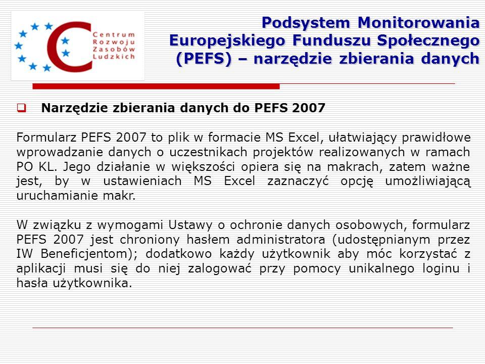Podsystem Monitorowania Europejskiego Funduszu Społecznego (PEFS) – narzędzie zbierania danych