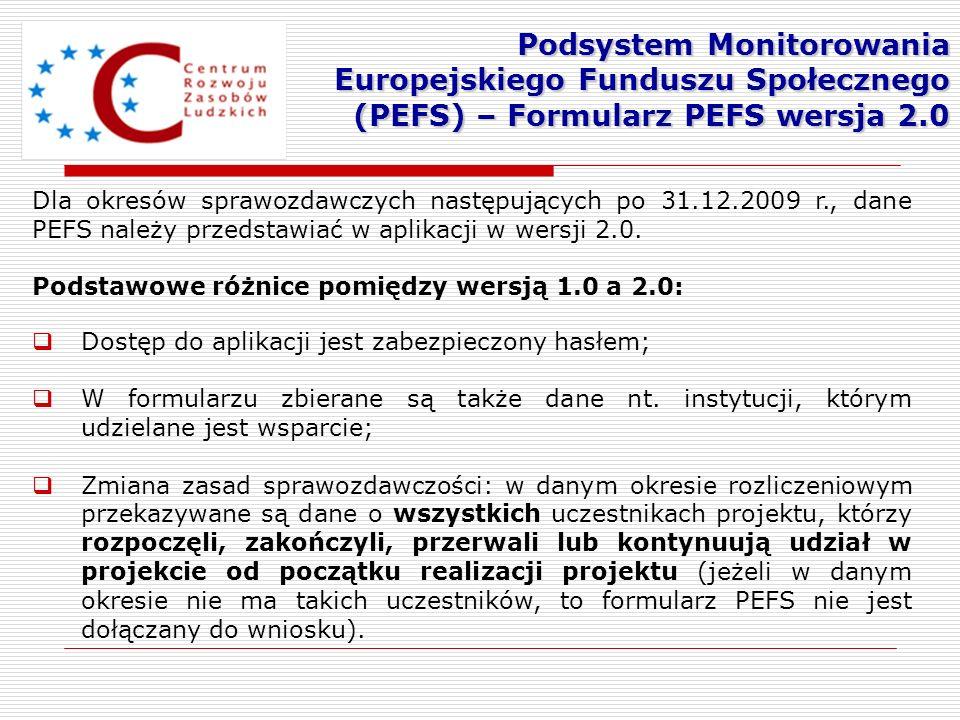 Podsystem Monitorowania Europejskiego Funduszu Społecznego (PEFS) – Formularz PEFS wersja 2.0