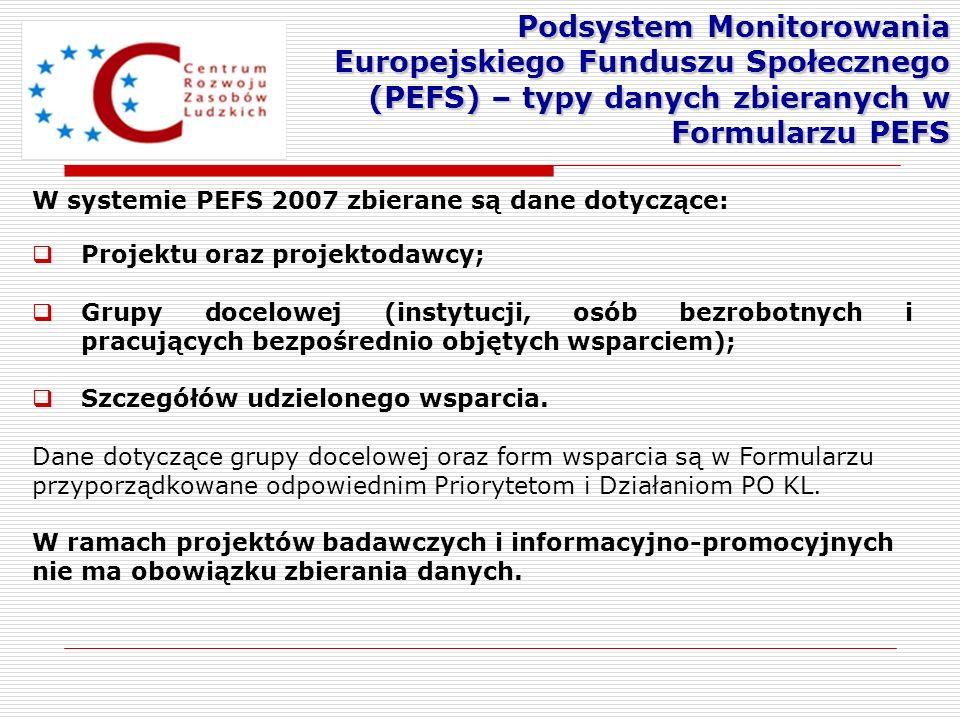 Podsystem Monitorowania Europejskiego Funduszu Społecznego (PEFS) – typy danych zbieranych w Formularzu PEFS
