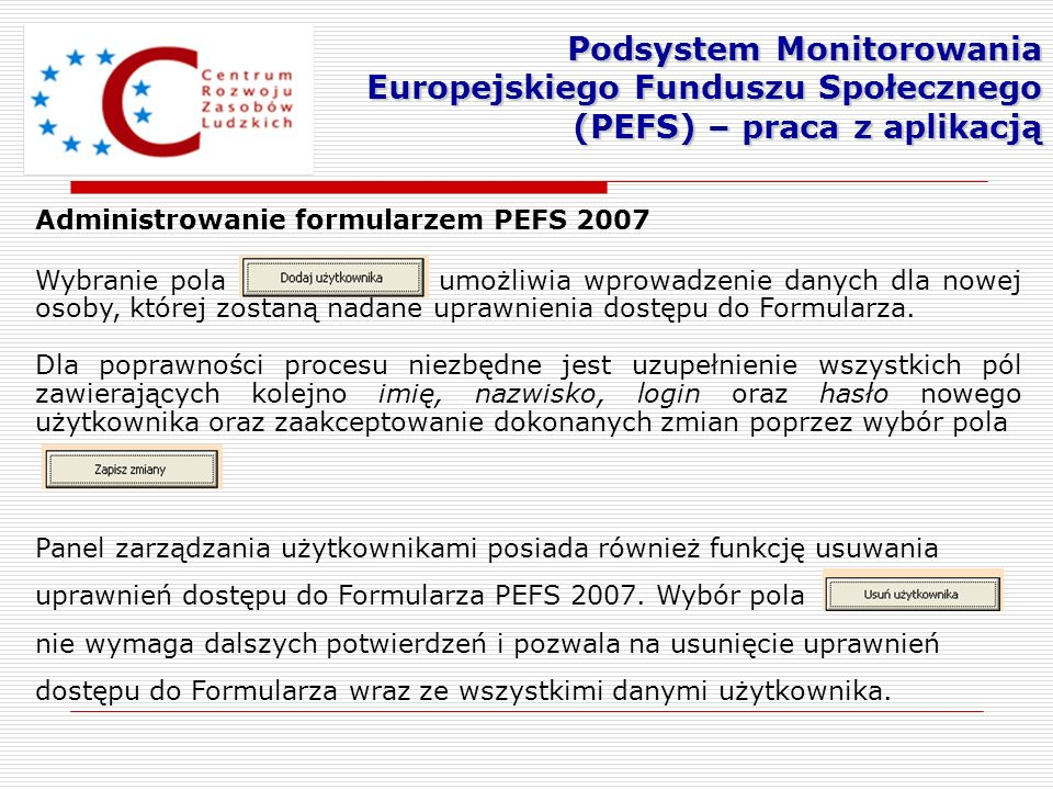 Podsystem Monitorowania Europejskiego Funduszu Społecznego (PEFS) – praca z aplikacją