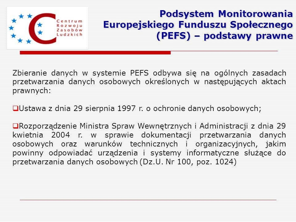 Podsystem Monitorowania Europejskiego Funduszu Społecznego (PEFS) – podstawy prawne