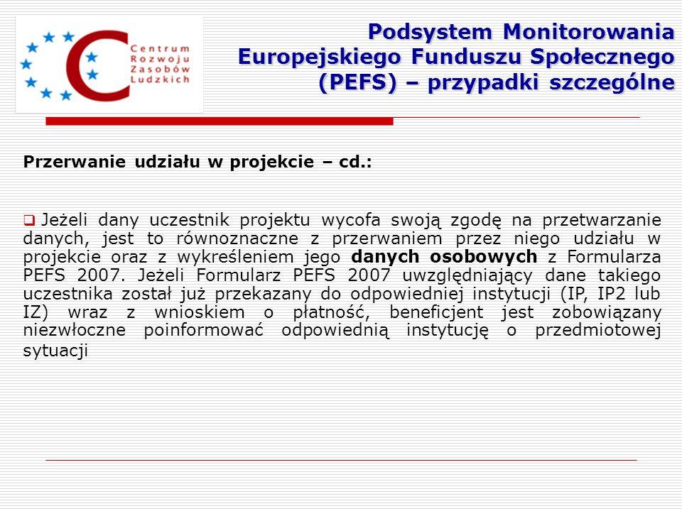 Podsystem Monitorowania Europejskiego Funduszu Społecznego (PEFS) – przypadki szczególne