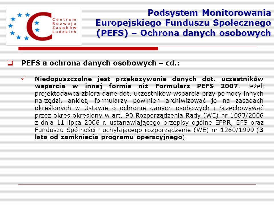 Podsystem Monitorowania Europejskiego Funduszu Społecznego (PEFS) – Ochrona danych osobowych
