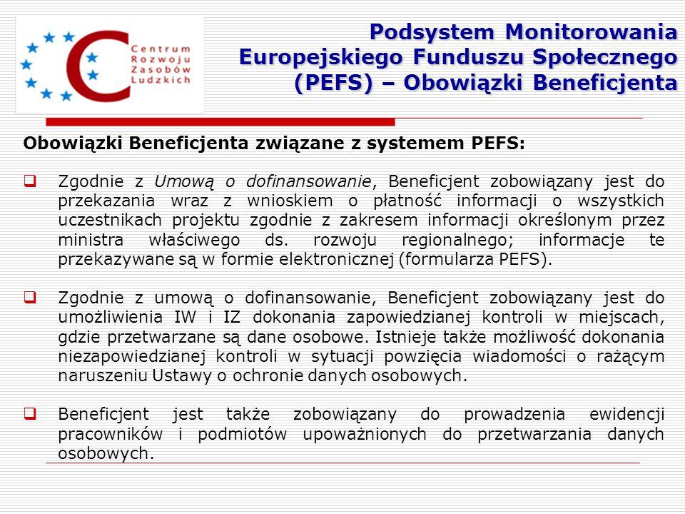 Podsystem Monitorowania Europejskiego Funduszu Społecznego (PEFS) – Obowiązki Beneficjenta