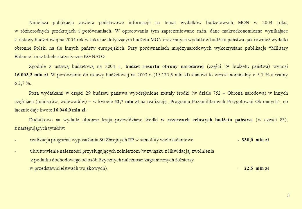 Niniejsza publikacja zawiera podstawowe informacje na temat wydatków budżetowych MON w 2004 roku, w różnorodnych przekrojach i porównaniach. W opracowaniu tym zaprezentowano m.in. dane makroekonomiczne wynikające z ustawy budżetowej na 2004 rok w zakresie dotyczącym budżetu MON oraz innych wydatków budżetu państwa, jak również wydatki obronne Polski na tle innych państw europejskich. Przy porównaniach międzynarodowych wykorzystano publikacje Military Balance oraz tabele statystyczne KG NATO.
