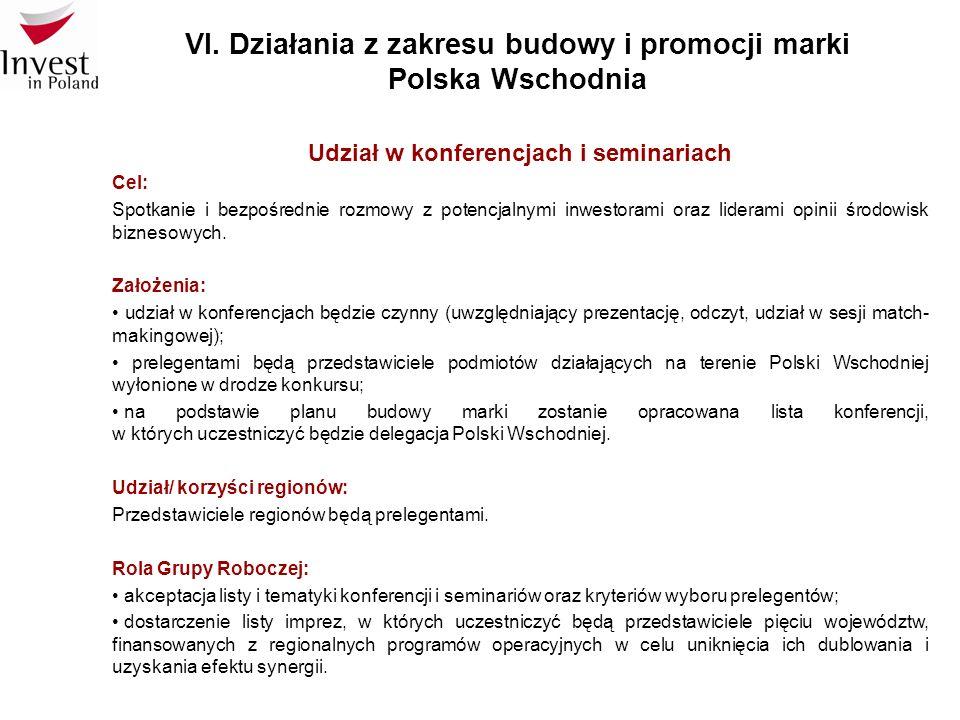 VI. Działania z zakresu budowy i promocji marki Polska Wschodnia