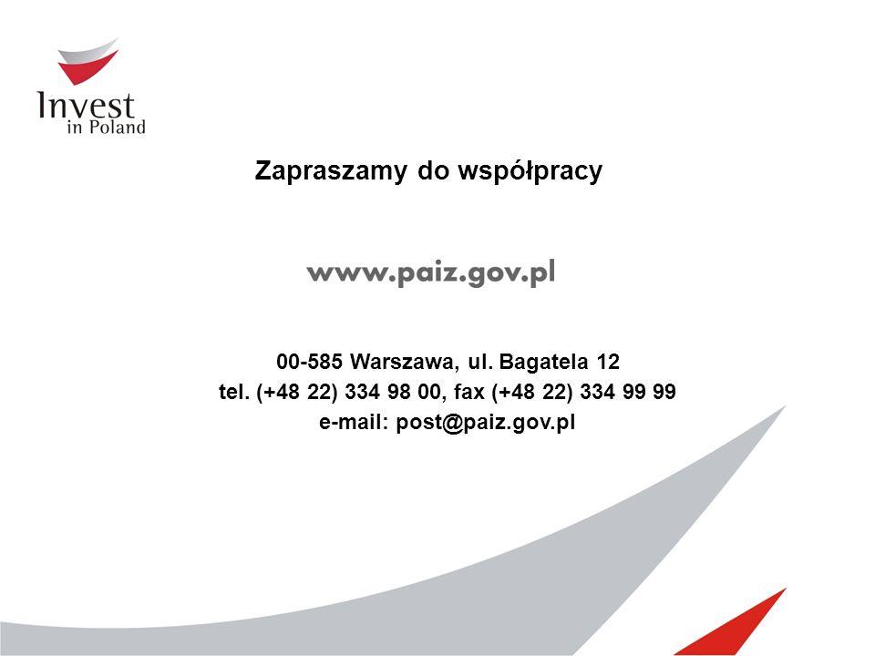 Zapraszamy do współpracy e-mail: post@paiz.gov.pl
