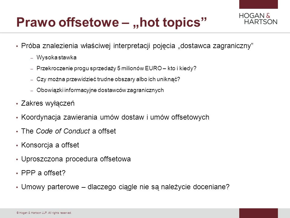 "Prawo offsetowe – ""hot topics"