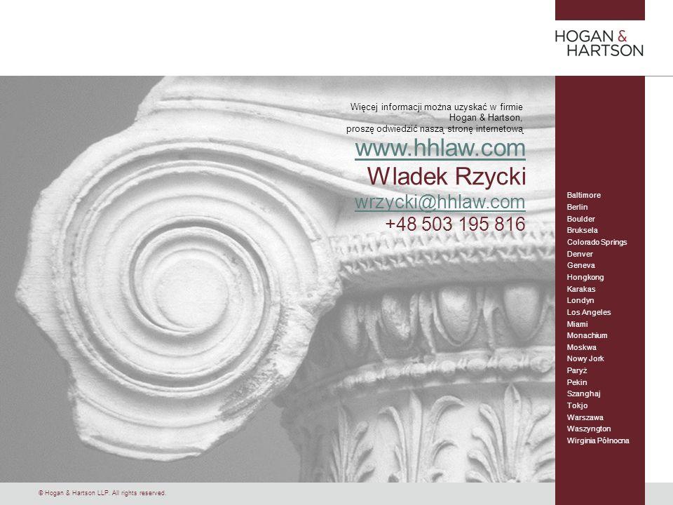 www.hhlaw.com Wladek Rzycki wrzycki@hhlaw.com +48 503 195 816