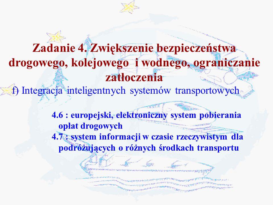 Zadanie 4. Zwiększenie bezpieczeństwa drogowego, kolejowego i wodnego, ograniczanie zatłoczenia