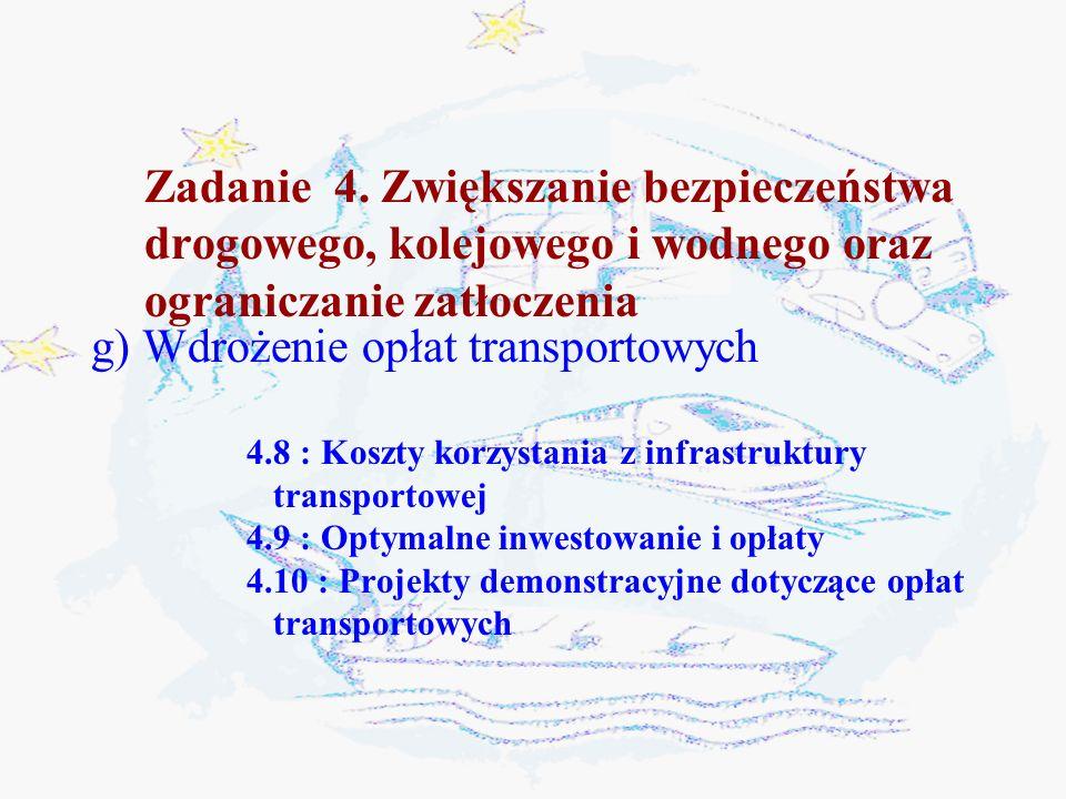 g) Wdrożenie opłat transportowych