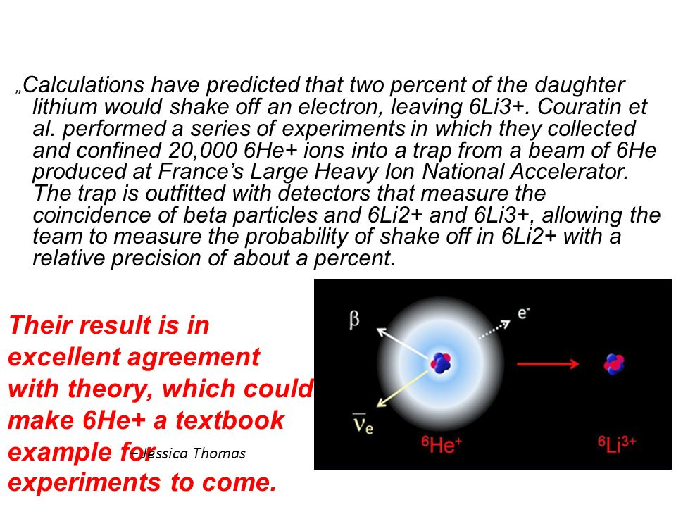 """Calculations have predicted that two percent of the daughter lithium would shake off an electron, leaving 6Li3+. Couratin et al. performed a series of experiments in which they collected and confined 20,000 6He+ ions into a trap from a beam of 6He produced at France's Large Heavy Ion National Accelerator. The trap is outfitted with detectors that measure the coincidence of beta particles and 6Li2+ and 6Li3+, allowing the team to measure the probability of shake off in 6Li2+ with a relative precision of about a percent."