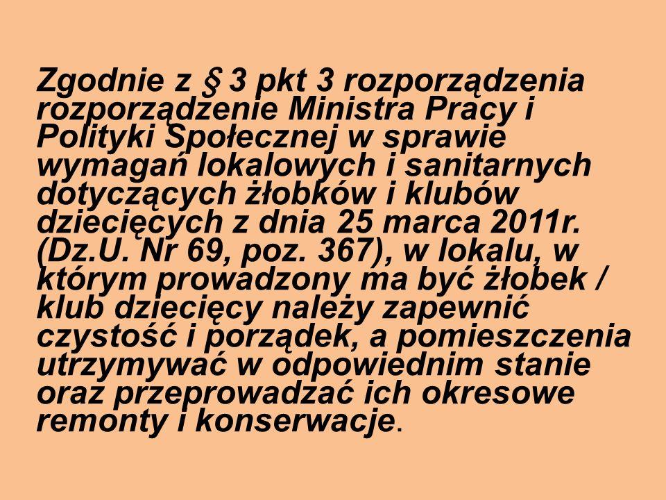 Zgodnie z § 3 pkt 3 rozporządzenia rozporządzenie Ministra Pracy i Polityki Społecznej w sprawie wymagań lokalowych i sanitarnych dotyczących żłobków i klubów dziecięcych z dnia 25 marca 2011r.