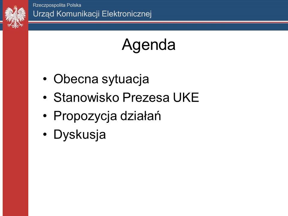 Agenda Obecna sytuacja Stanowisko Prezesa UKE Propozycja działań