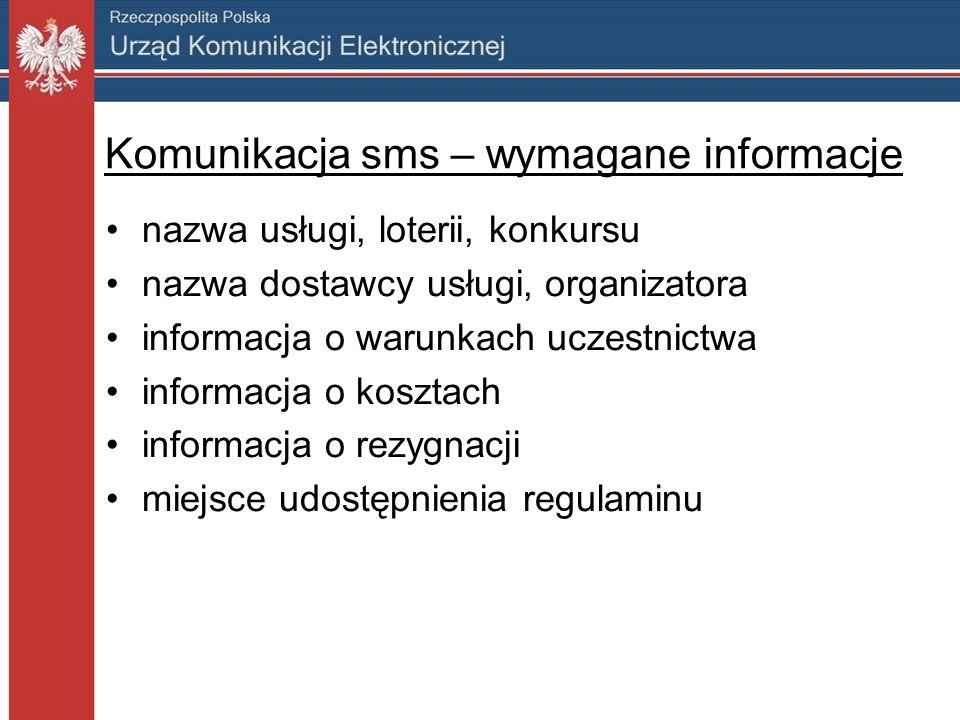 Komunikacja sms – wymagane informacje