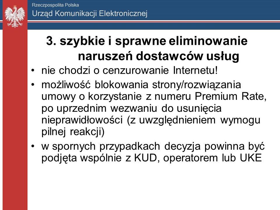 3. szybkie i sprawne eliminowanie naruszeń dostawców usług