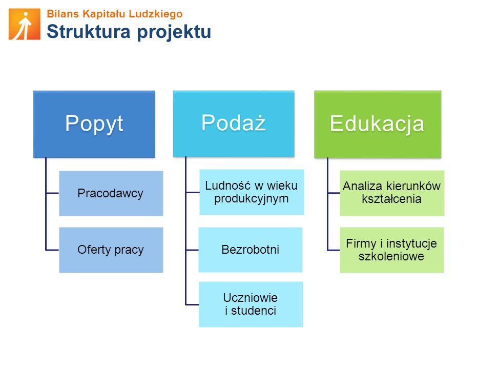 Popyt Podaż Edukacja Struktura projektu Ludność w wieku produkcyjnym