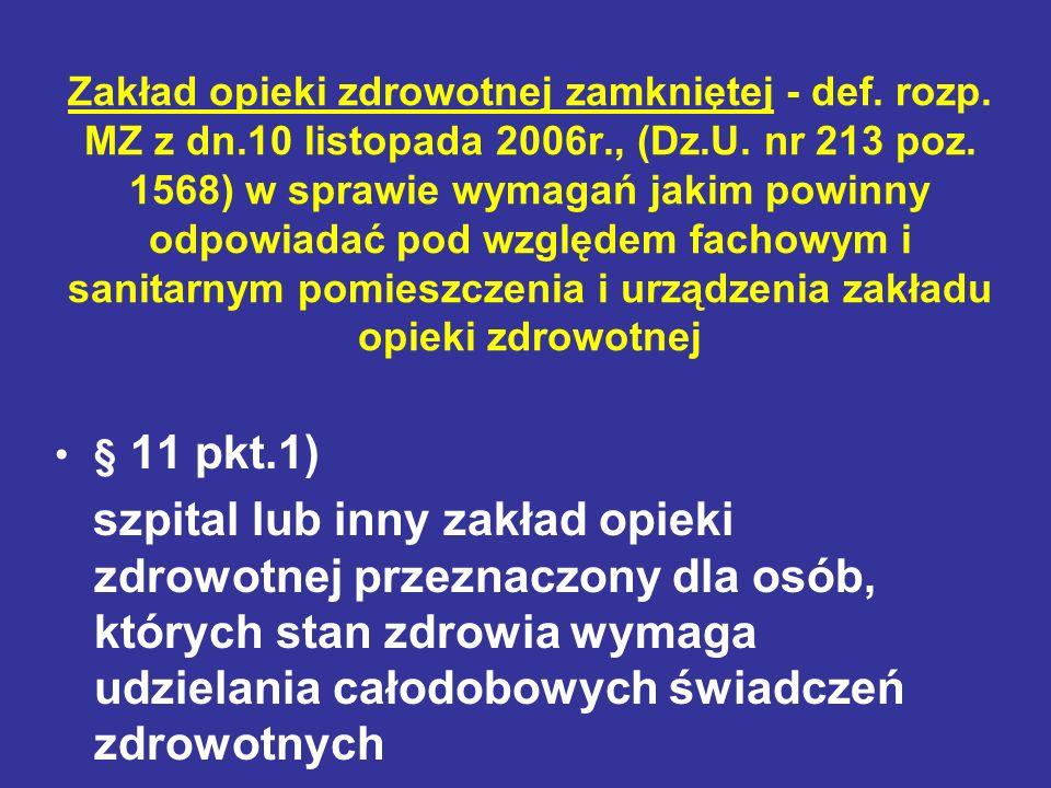 Zakład opieki zdrowotnej zamkniętej - def. rozp. MZ z dn