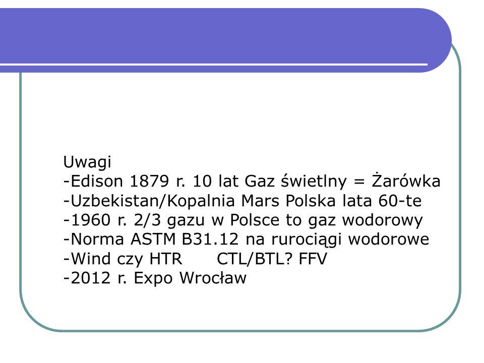 Uwagi -Edison 1879 r. 10 lat Gaz świetlny = Żarówka. -Uzbekistan/Kopalnia Mars Polska lata 60-te. 1960 r. 2/3 gazu w Polsce to gaz wodorowy.