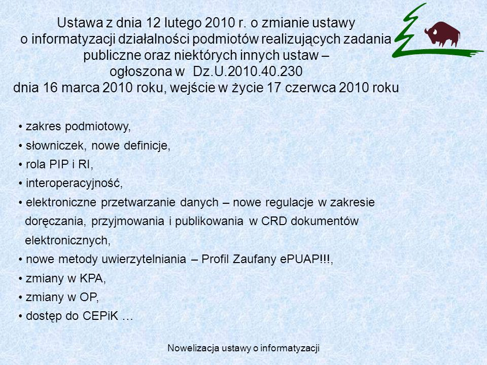 Nowelizacja ustawy o informatyzacji