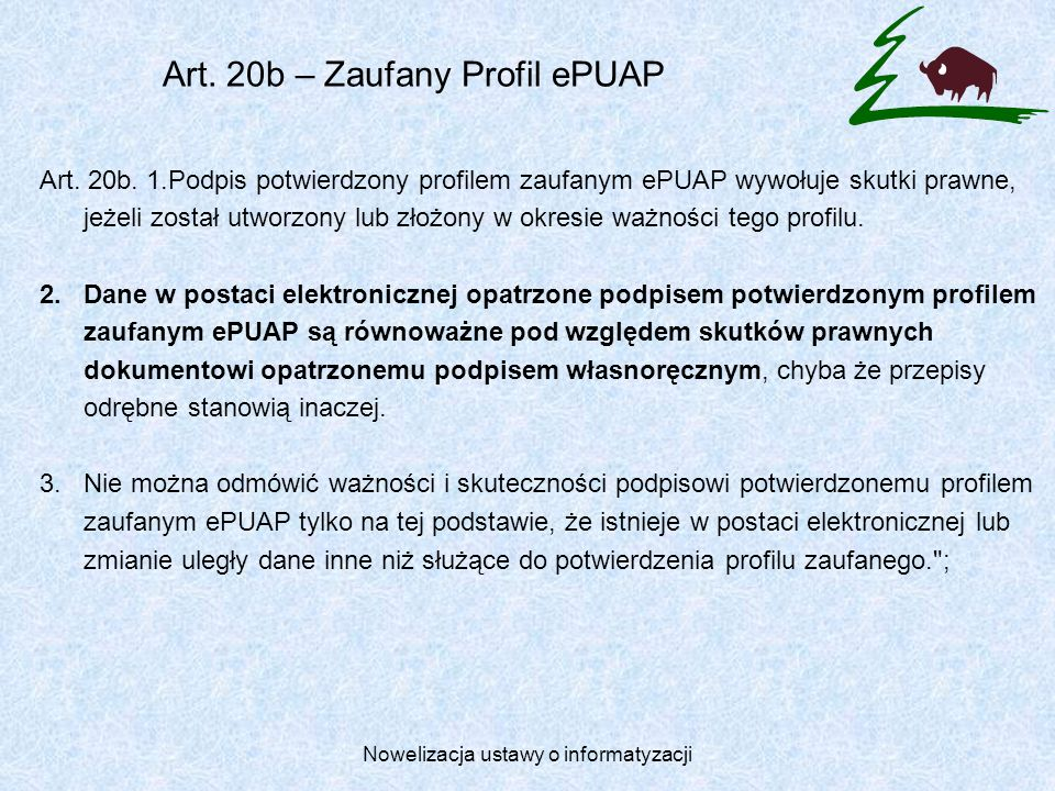Art. 20b – Zaufany Profil ePUAP
