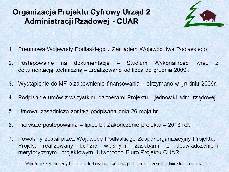 Organizacja Projektu Cyfrowy Urząd 2 Administracji Rządowej - CUAR