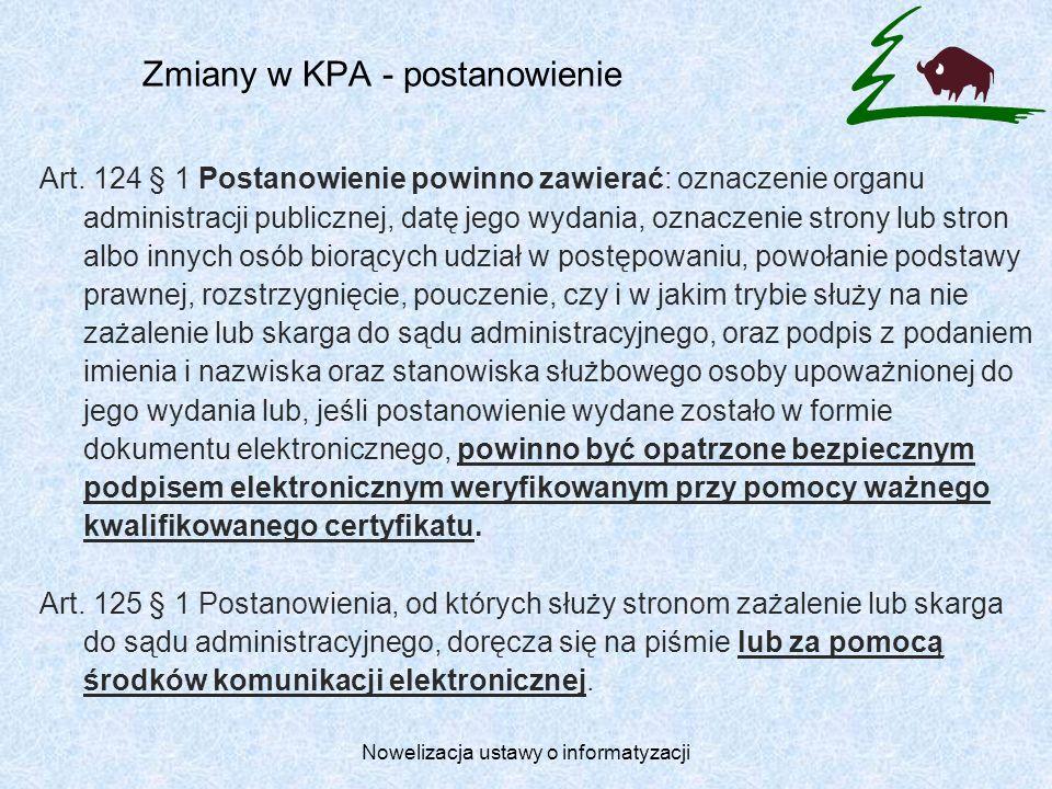 Zmiany w KPA - postanowienie