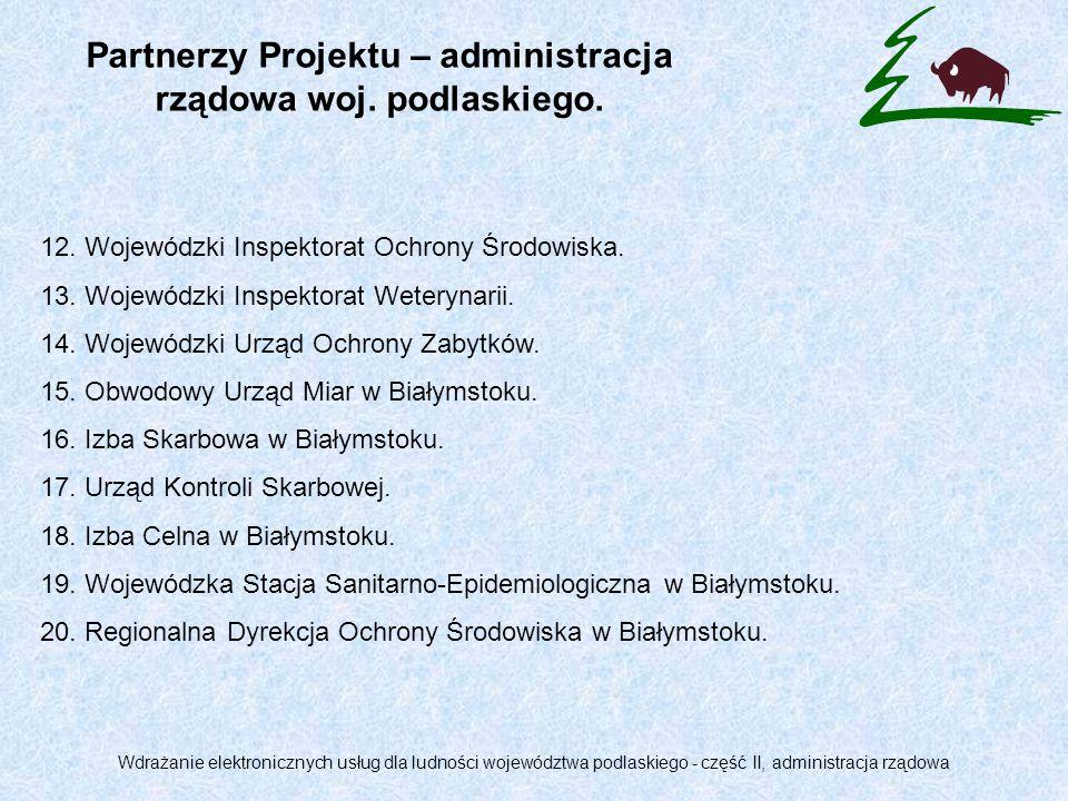 Partnerzy Projektu – administracja rządowa woj. podlaskiego.