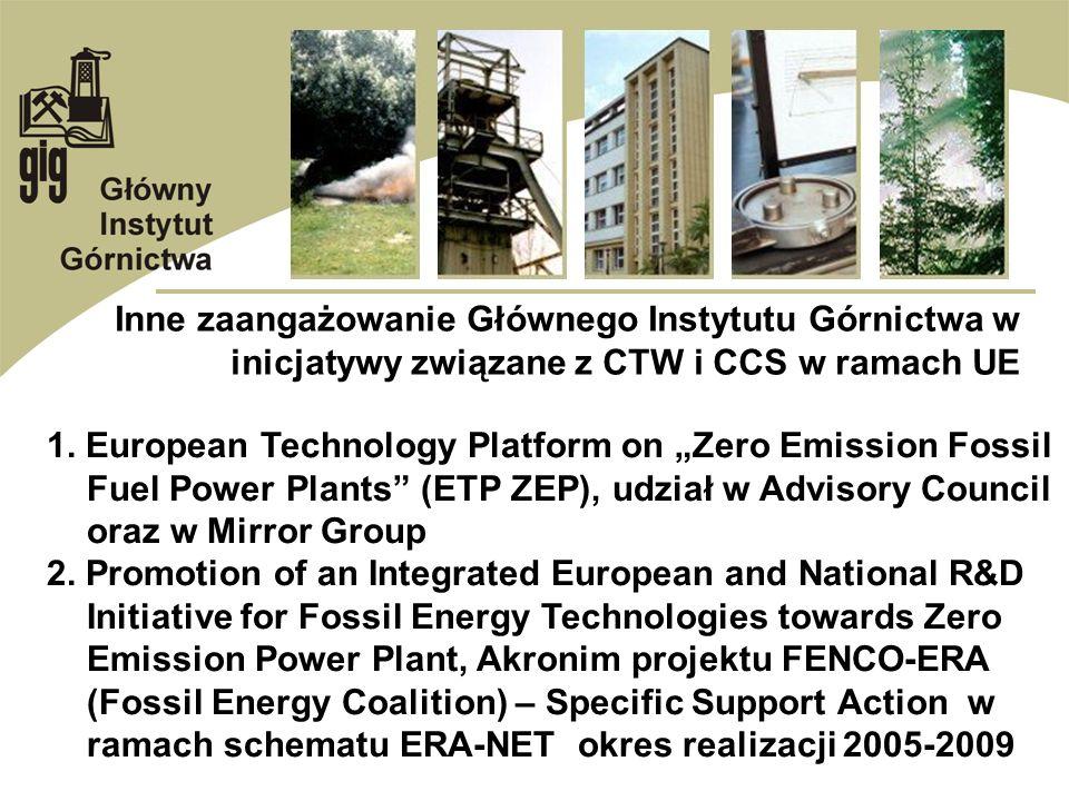 Inne zaangażowanie Głównego Instytutu Górnictwa w inicjatywy związane z CTW i CCS w ramach UE